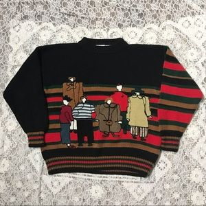 Vintage graphic colorful sweater size M